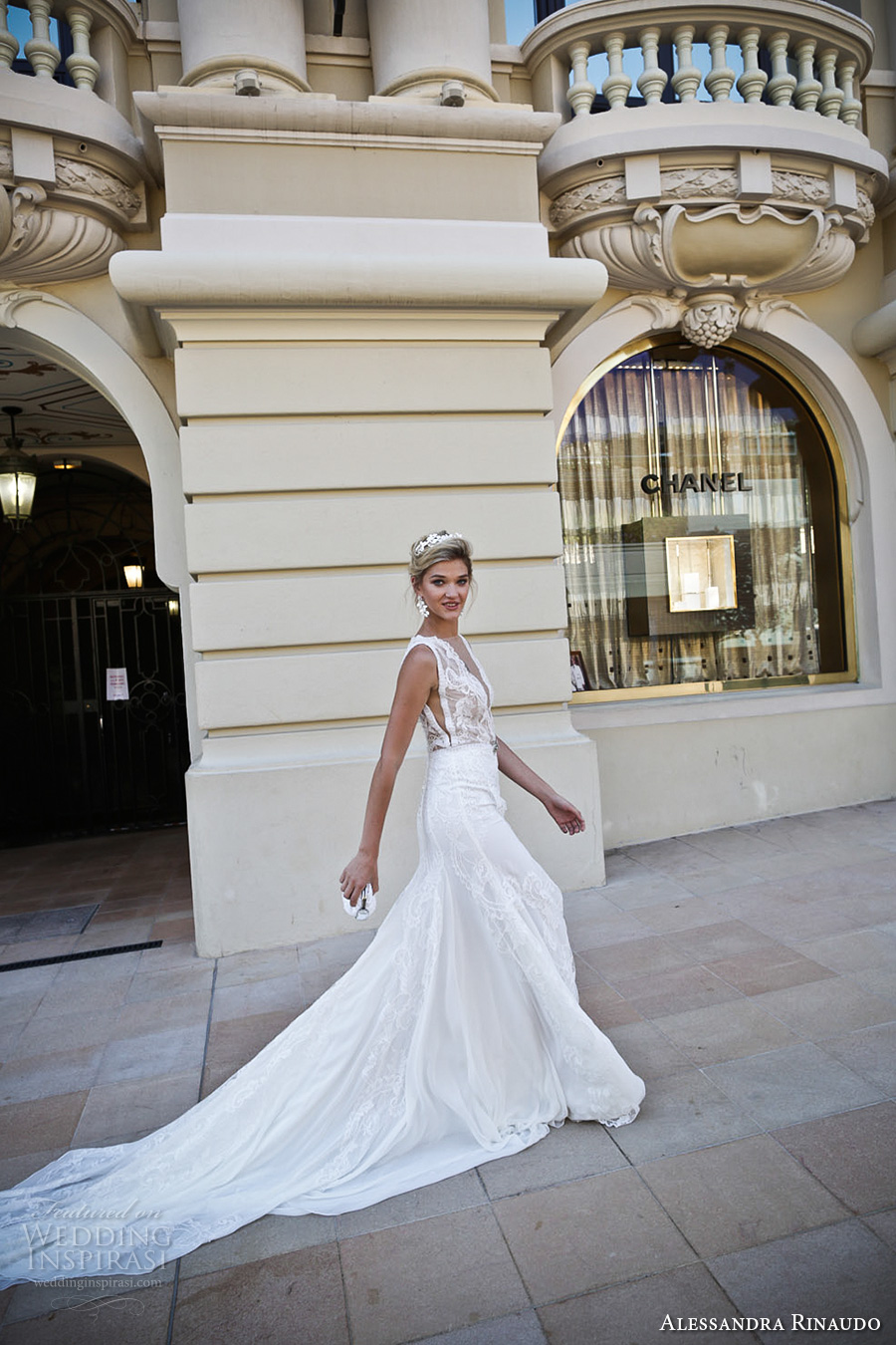 alessandra rinaudo 2017 bridal sleeveless illusion boat deep plunging neck line heavily embellished bodice slit down the middle a line wedding dress lace back chapel train (16) sdv