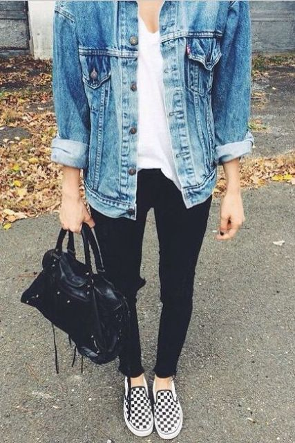 checkered slip-ons, black jeans, a white tee and a denim jacket
