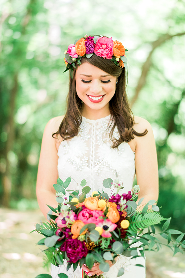 vibrant wedding bouquet - photo by A.J. Dunlap Photography http://ruffledblog.com/brightly-colorful-sequined-wedding