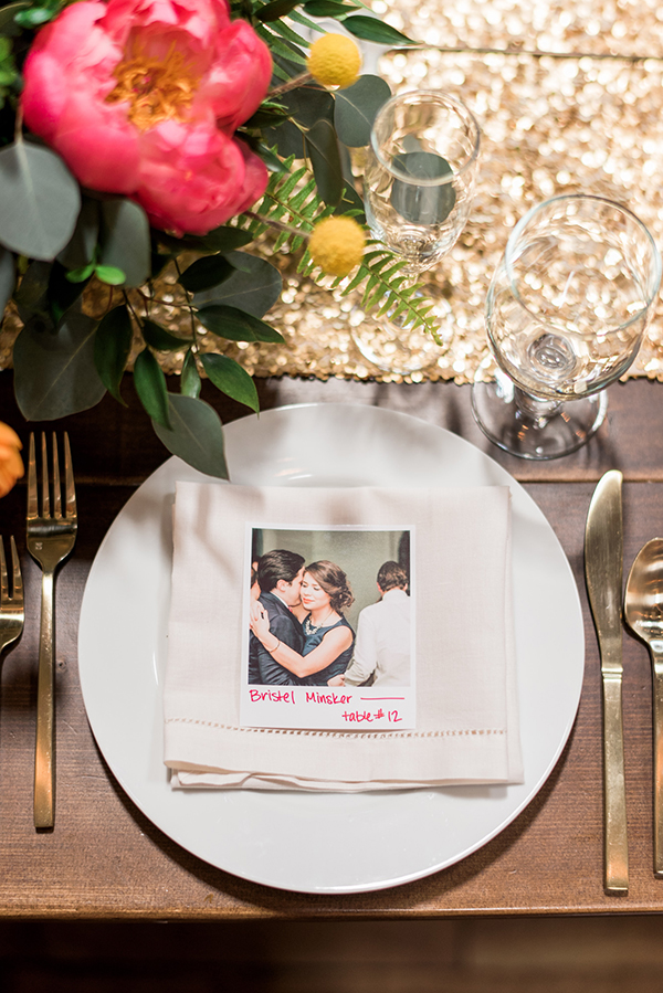 wedding place settings - photo by A.J. Dunlap Photography http://ruffledblog.com/brightly-colorful-sequined-wedding