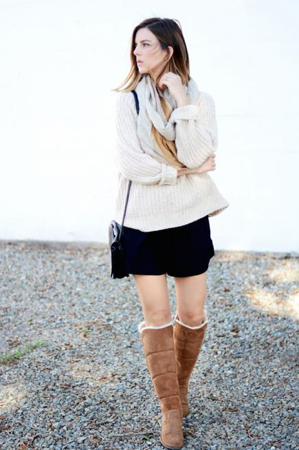 How to wear Shearling Boots - Ideas to wear Dresses with boots (4)