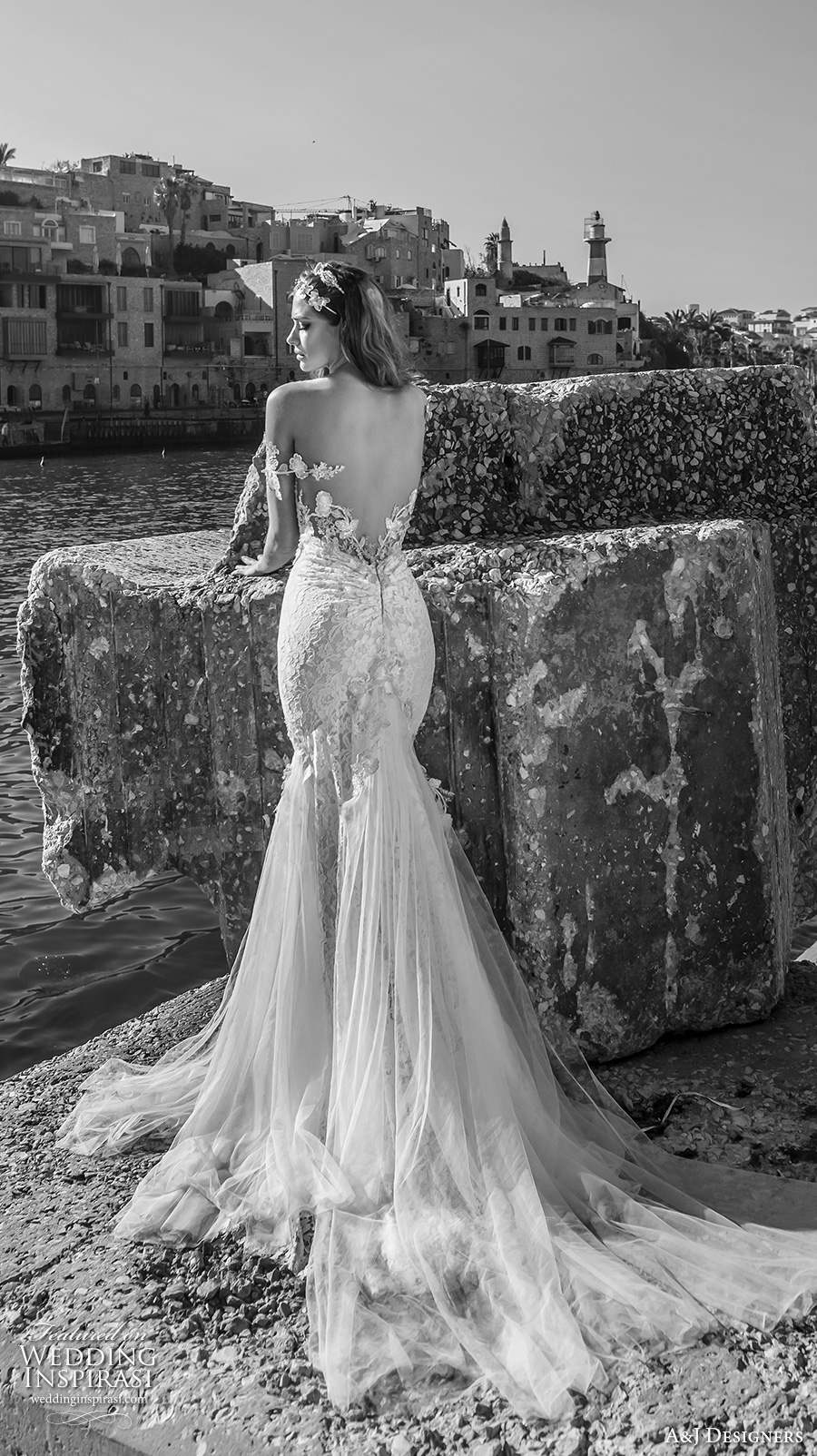 julie vino a j designers bridal s2017 off the should lace strap heavily embellished bodice tulle skirt sexy mermaid wedding dress low back chapel train (aj110) bv