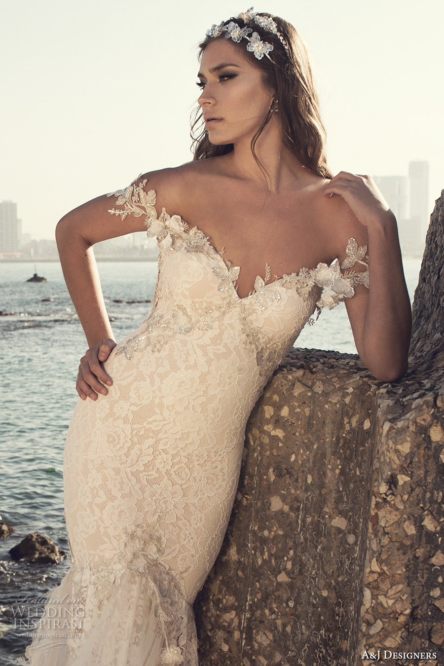 julie vino a j designers bridal s2017 off the should lace strap heavily embellished bodice tulle skirt sexy mermaid wedding dress low back chapel train (aj110) zv