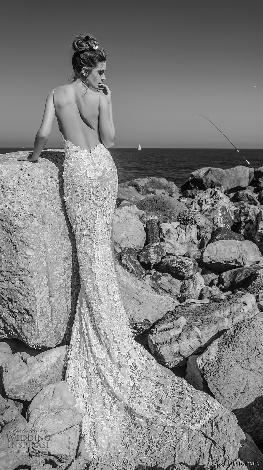 julie vino a j designers bridal s2017 sleeveless spagetti strap sweetheart plunging neckline full embellishment sexy fit to flare wedding dress low open back chapel train (aj107) bv