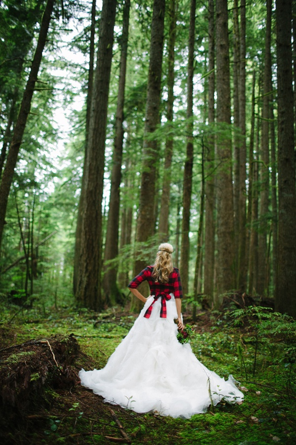 plaid shirt over the wedding dress