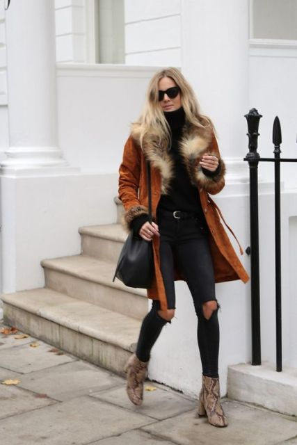 Coat with fur cuffs and collar