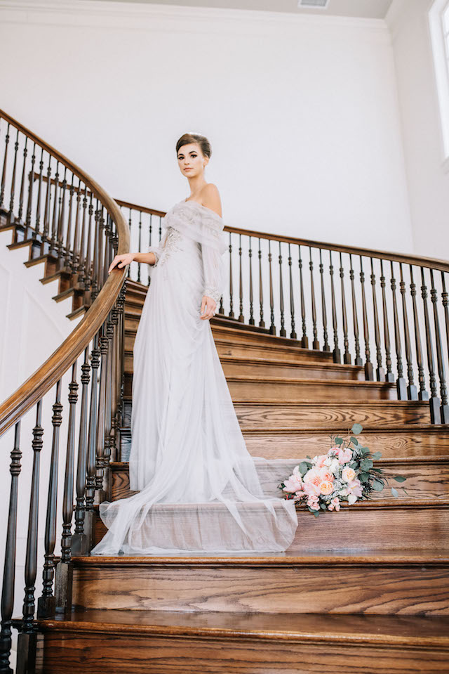 Grand staircase portrait | Alba Rose Photography