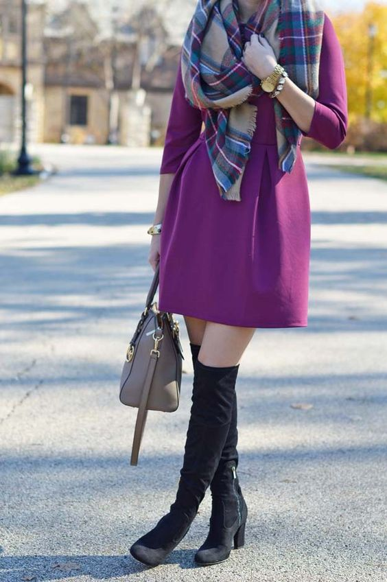 purple dress, a blanket scarf, high suede boots