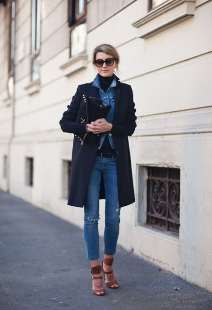 With denim shirt, black turtleneck, crop jeans and heels
