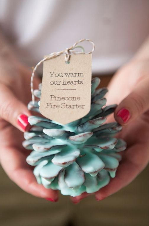 pinecone fire starters as wedding favors