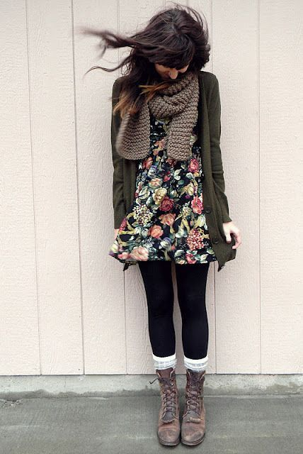 With floral dress, cardigan and scarf