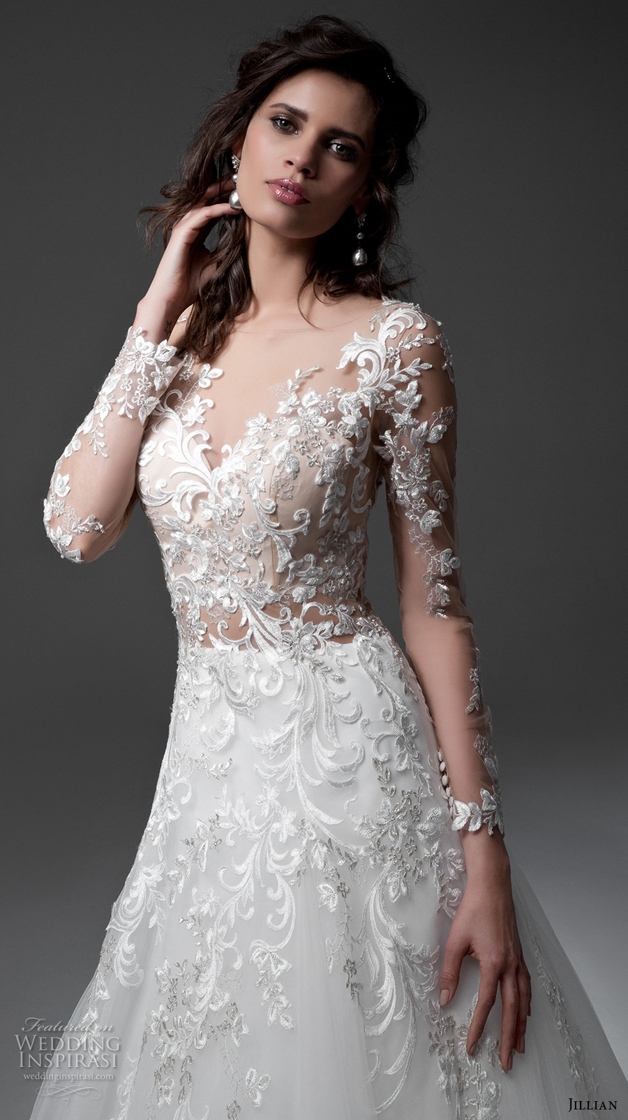 jillian 2017 bridal long sleeves v neck heavily embellished bodice lace embroidered gorgeous elegant a line wedding dress illusion back chapel train (michela) zv