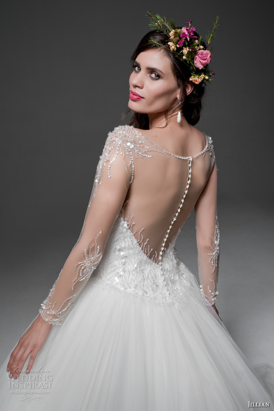 jillian 2017 bridal sheer long sleeves illusion bateau sweetheart neckline heavily embellished bodice tulle skirt princess ball gown wedding dress sheer back royal train (maura) zbv