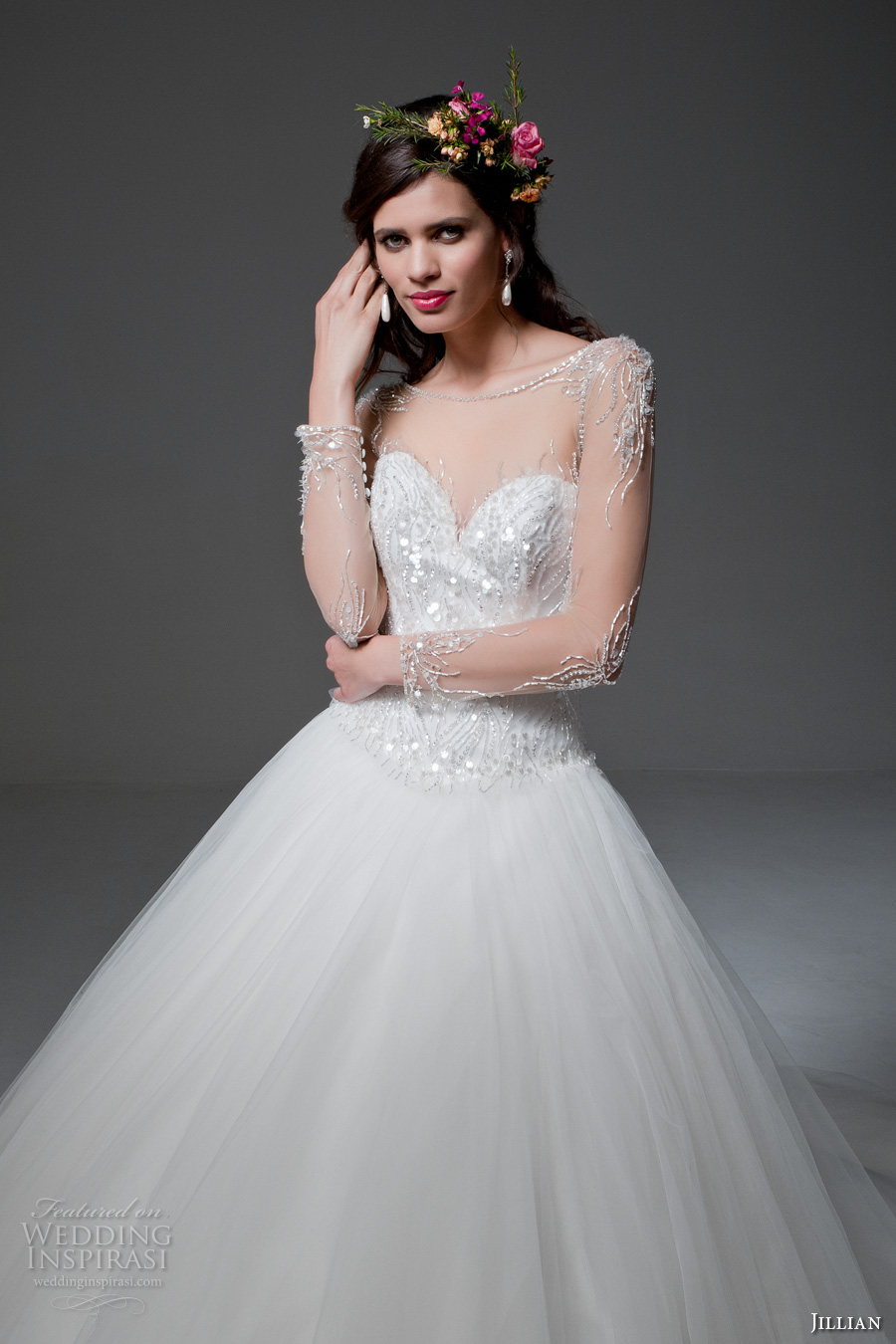 jillian 2017 bridal sheer long sleeves illusion bateau sweetheart neckline heavily embellished bodice tulle skirt princess ball gown wedding dress sheer back royal train (maura) zv