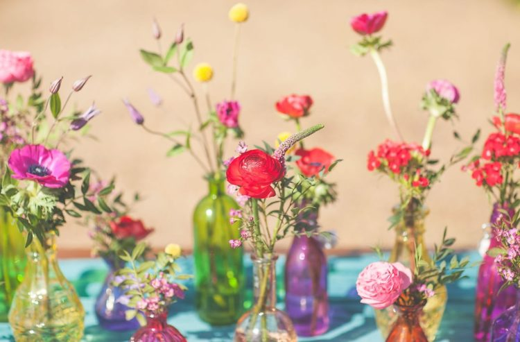 All the flowers for the shoot were chosen in bold jewel tones