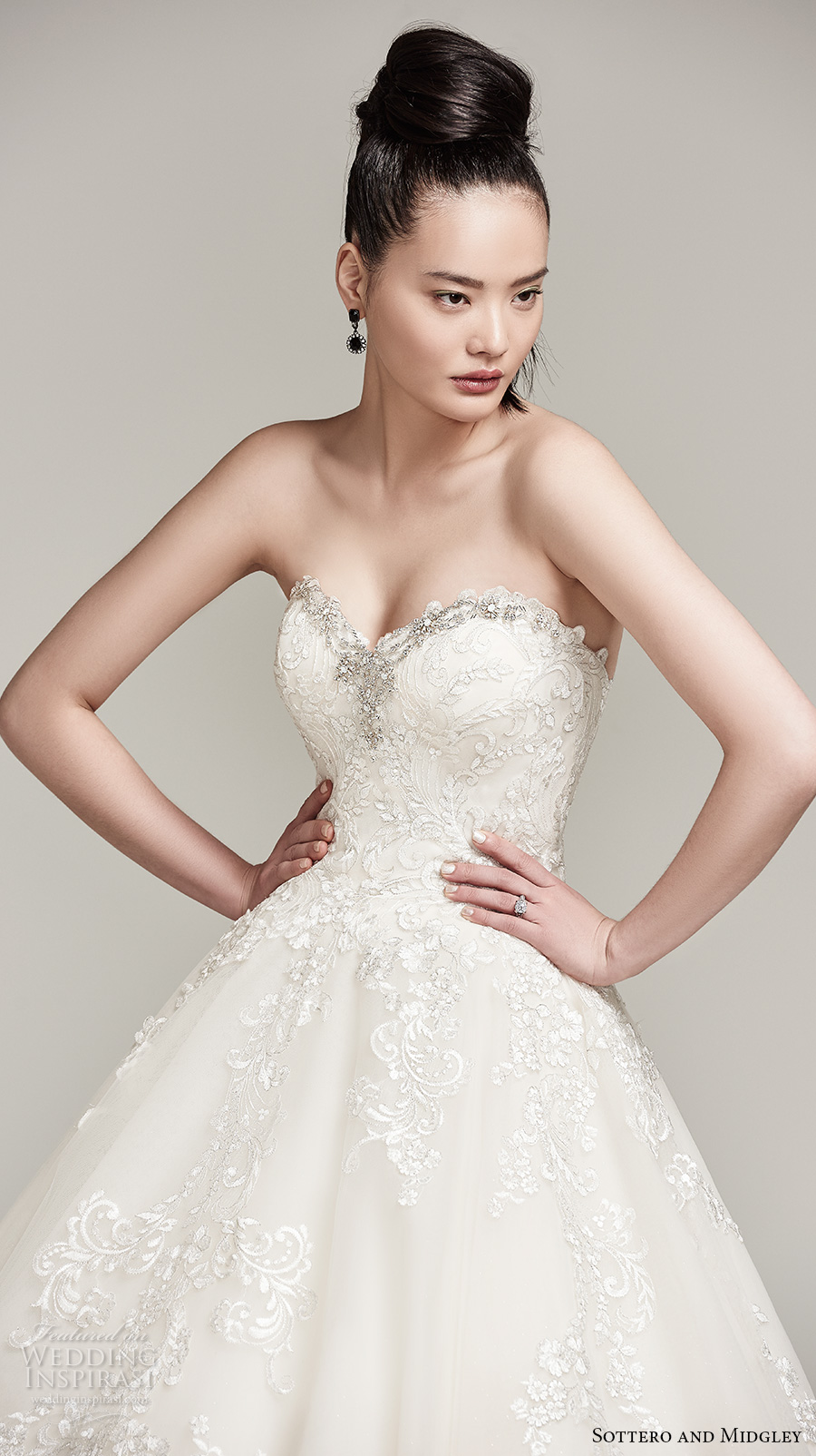 sottero midgley fall 2016 bridal strapless sweetheart neckline heavily embellished bodice romantic a line wedding dress chapel train (olga) zv