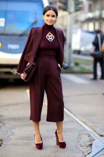 Burgundy culottes with jacket and heels