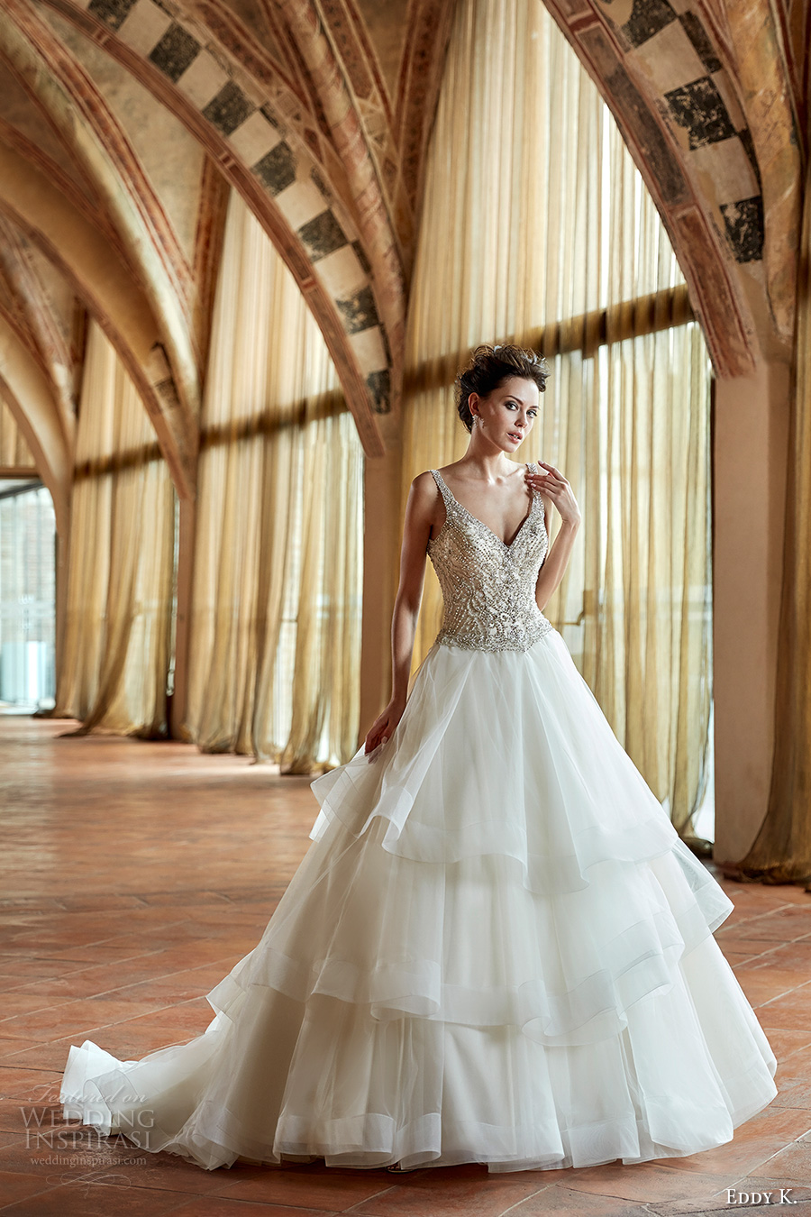 eddy k couture 2017 bridal sleeveless v neck beaded heavily embellished bodice glamorous tiered skirt a line wedding dress open back chapel train (ct179) mv