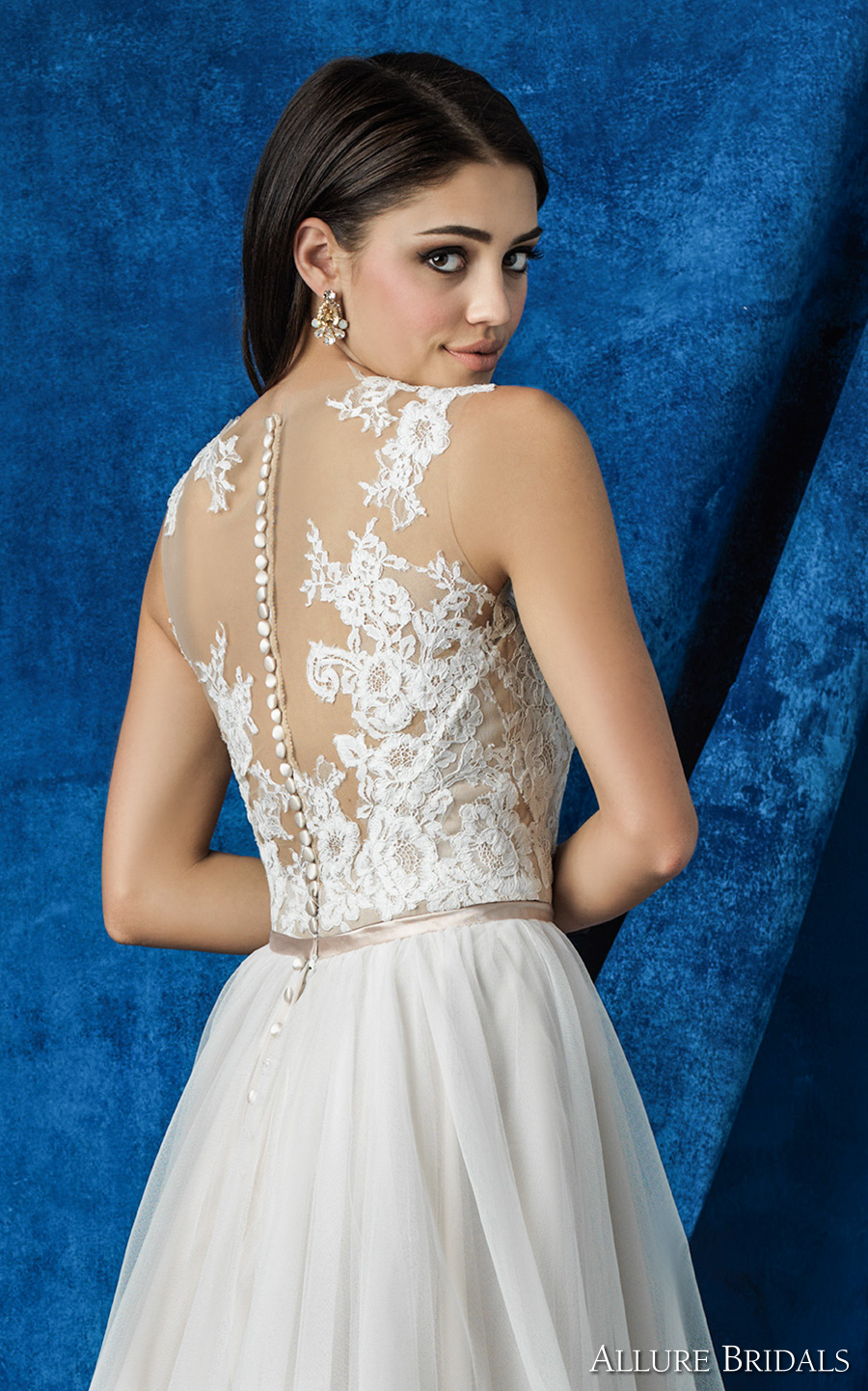 allure bridals 2016 mix match sleeveless illusion round neck plunging v neck lace bodice romantic tulle skirt a line wedding dress illusion back chapel train (a2004 top a2010 skirt) zbv