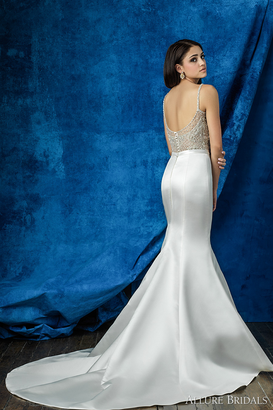 allure bridals 2016 mix match spagetti strap scoop neckline beaded bodice simple chic elegant skirt mermaid wedding dress scoop back chapel train (a2002 top a2009 skirt) bv