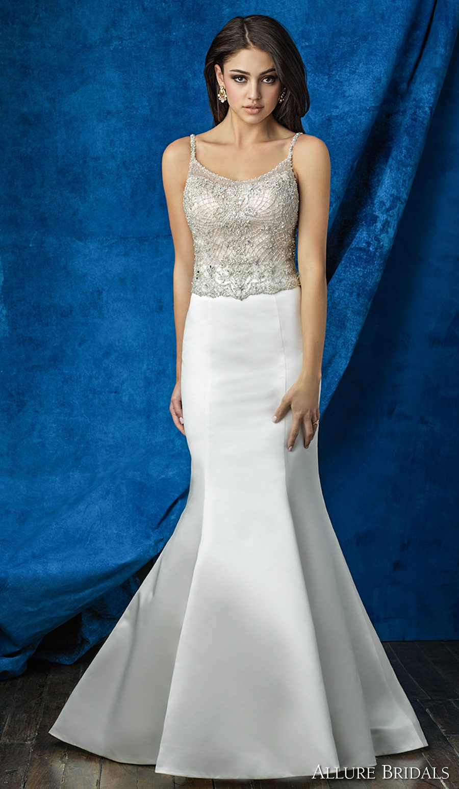 allure bridals 2016 mix match spagetti strap scoop neckline beaded bodice simple chic elegant skirt mermaid wedding dress scoop back chapel train (a2002 top a2009 skirt) mv