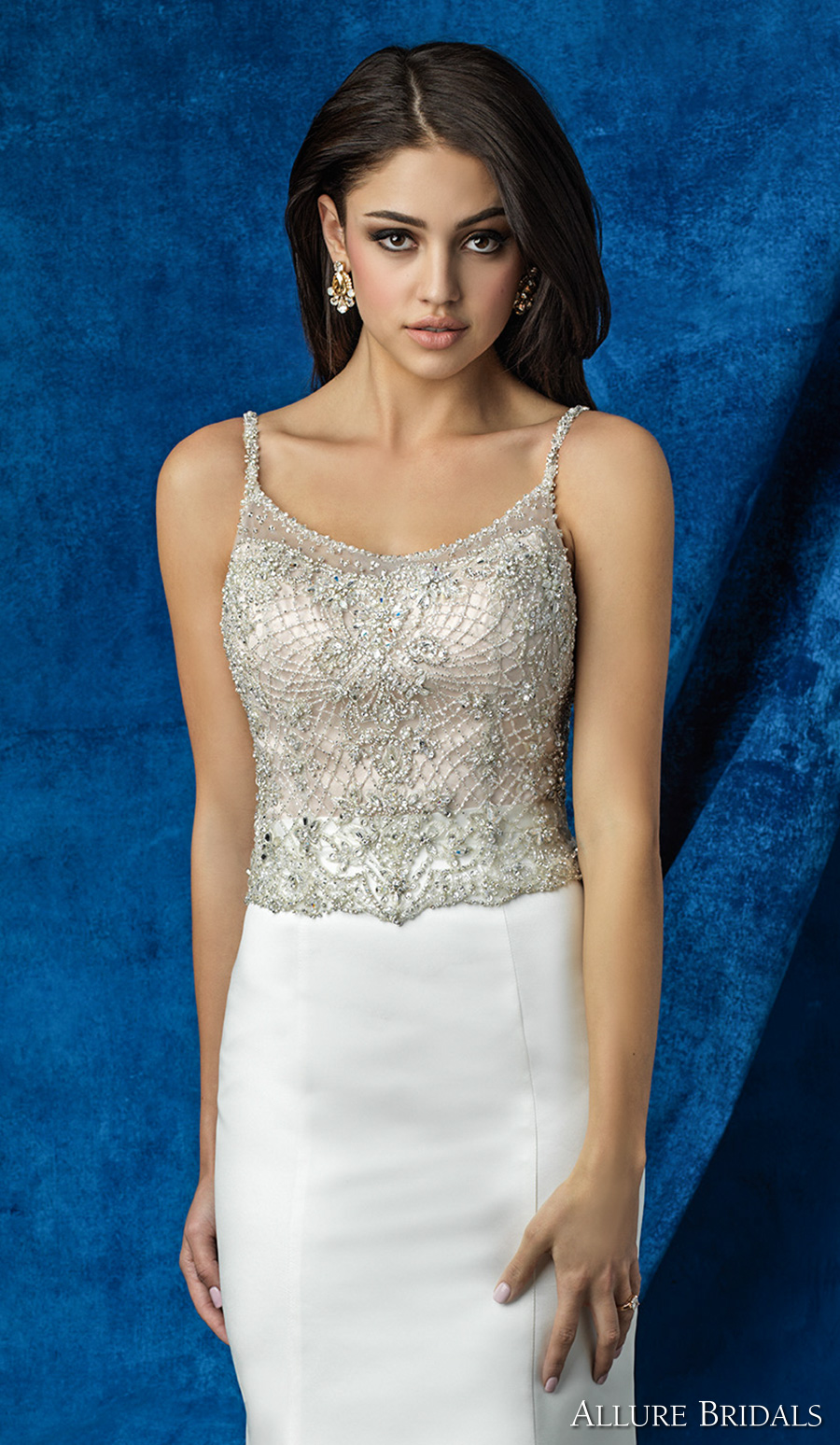 allure bridals 2016 mix match spagetti strap scoop neckline beaded bodice simple chic elegant skirt mermaid wedding dress scoop back chapel train (a2002 top a2009 skirt) zv