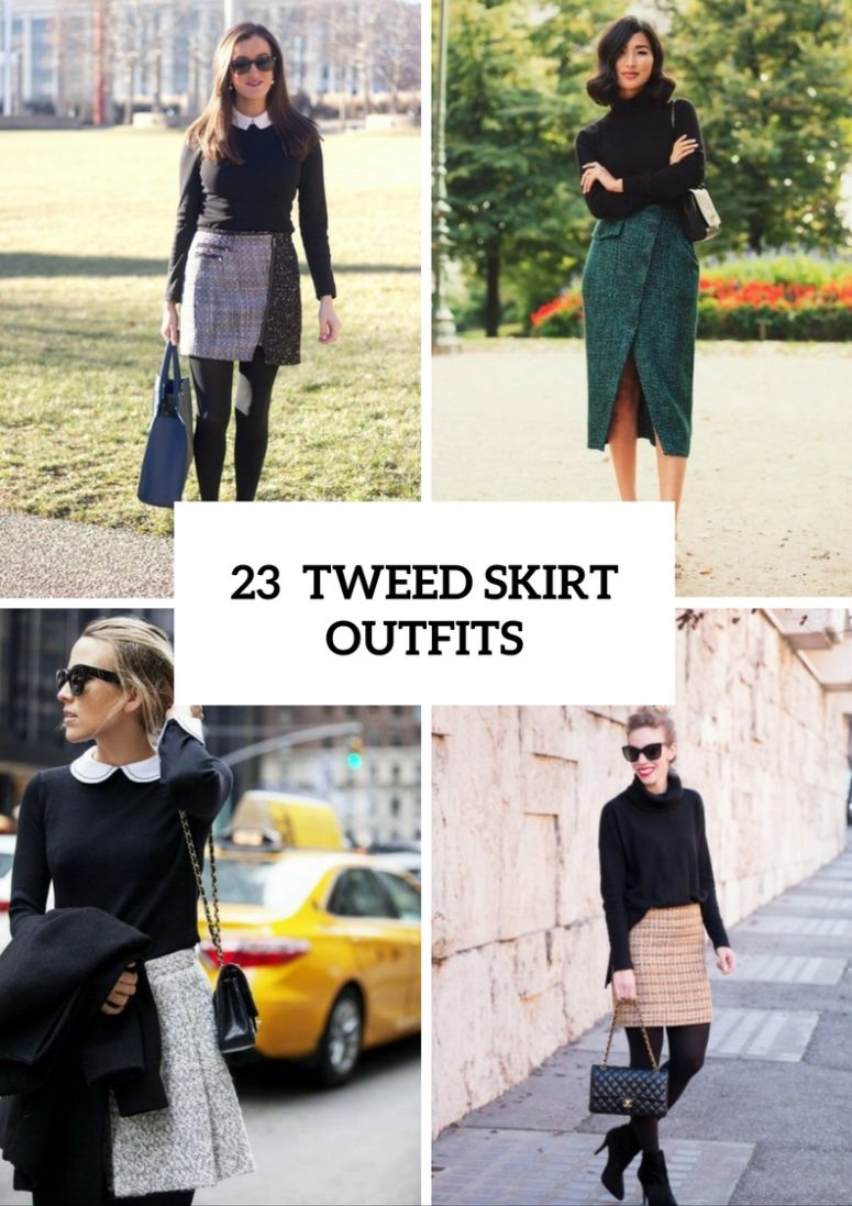 Excellent Tweed Skirt Ideas For This Fall
