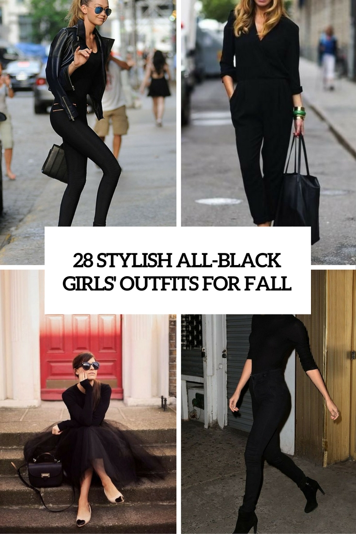 stylish all black girls' outfits for fall cover