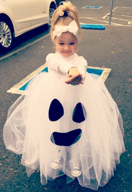 cute ghost cotume with a tutu skirt can be made in a couple of minutes