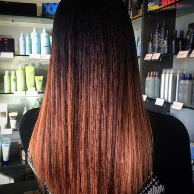 Dark to Copper Ombre Hair Color Idea