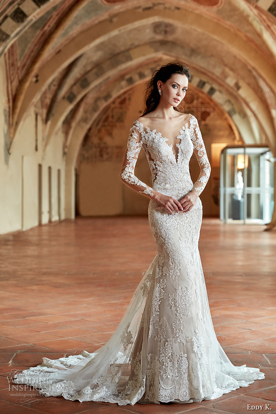 eddy k couture 2017 bridal long sleeves off the shoulder deep plunging v neck full embellishment gorgeous elegant lace fit and flare wedding dress v back chapel train (ct180) mv