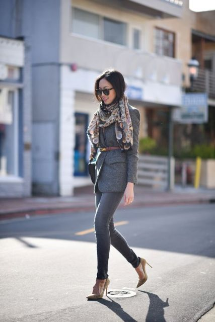 With skinnies, neutral pumps and printed scarf