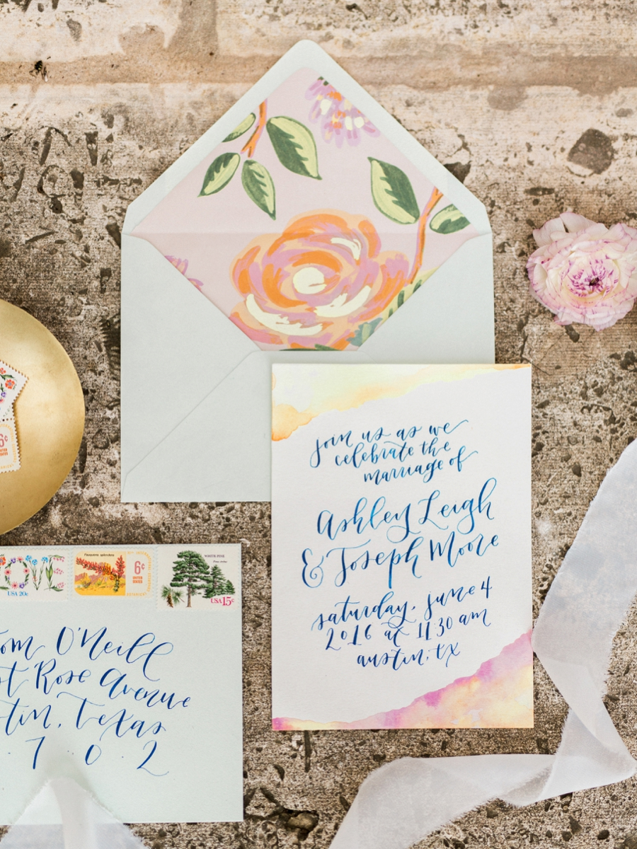 watercolor wedding invitations - http://ruffledblog.com/watercolor-greenhouse-wedding-inspiration