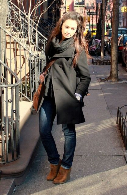 With straight jeans, black coat and scarf
