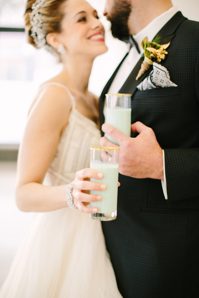 Mint milkshake with gold sugar rim | Sarah Pudlo & Co
