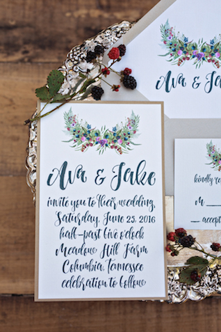 Blackberry wedding invitation | Amilia Photography