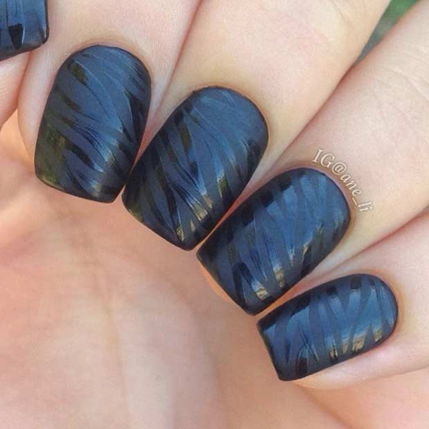 Black Matte and Glossy Zebra Nails