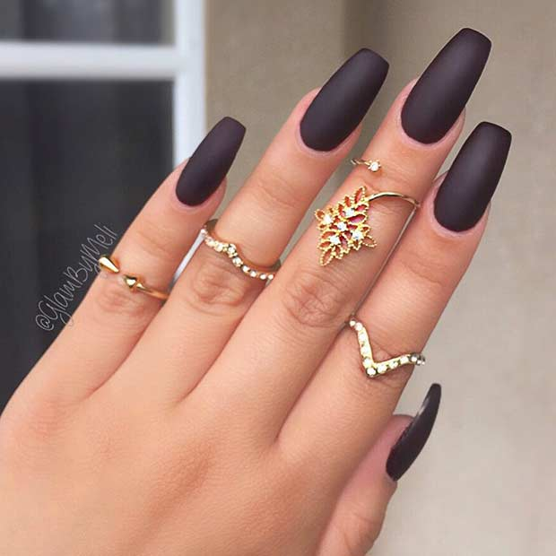 Black Matte Coffin Nails