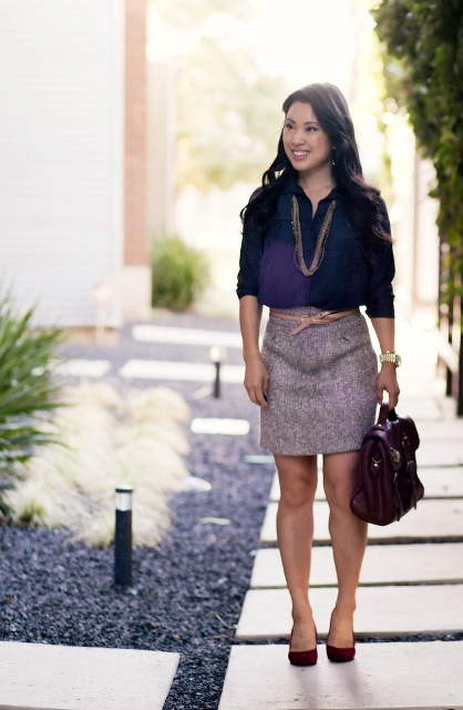 With colored blouse and marsala pumps