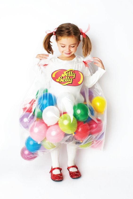 Jelly Belly Halloween costume with balloons for girls