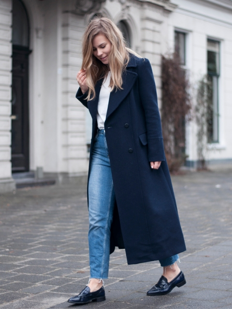 With white blouse, straight jeans and loafers