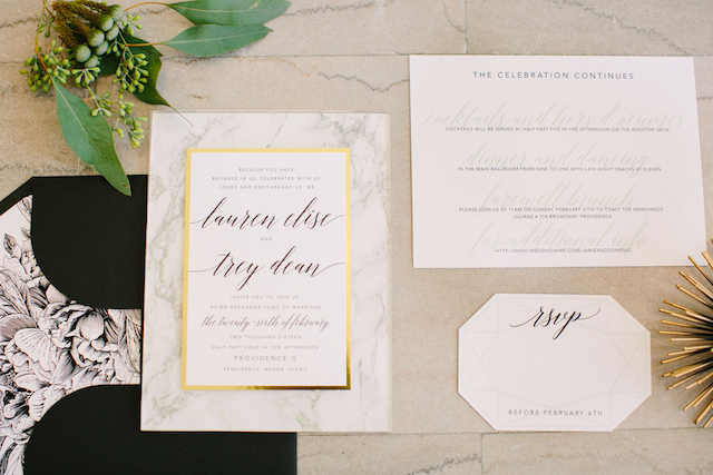 Marble themed wedding invites | Sarah Pudlo & Co