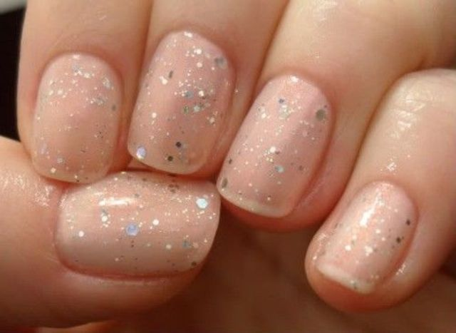 nude nails with silver glitter