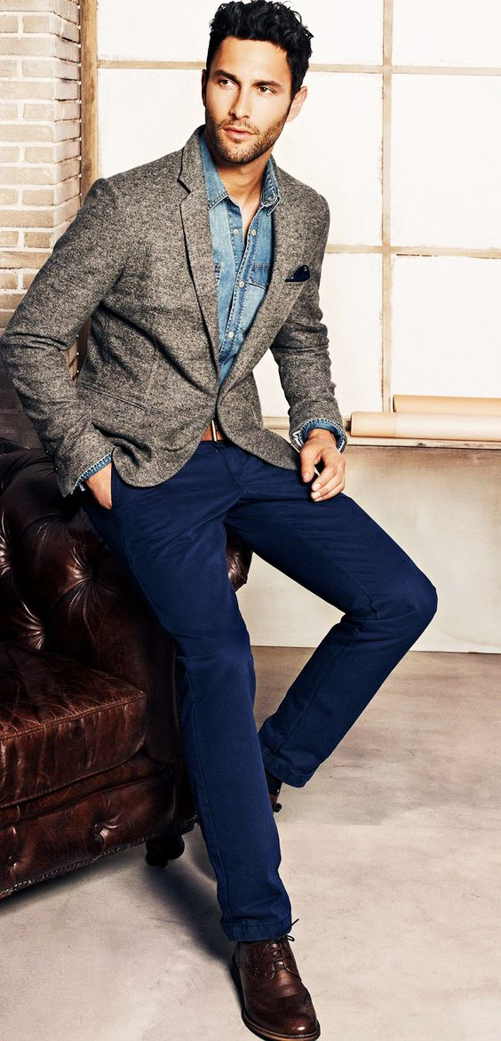 navy pants, a chambray shirt and a tweed jacket