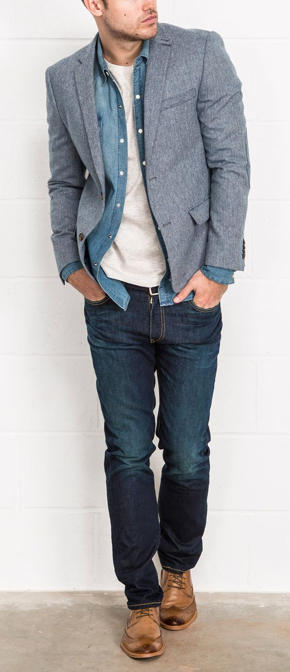 herringbone tweed blazer over double denim with brogues