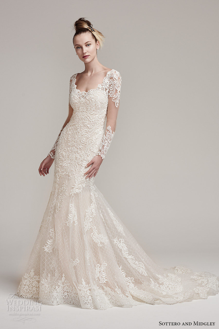 sottero midgley fall 2016 bridal long sleeves scoop neckline heavily emebllished bodice gorgeous elegant fit and flare mermaid wedding dress keyhole back chapel train (melrose) mv