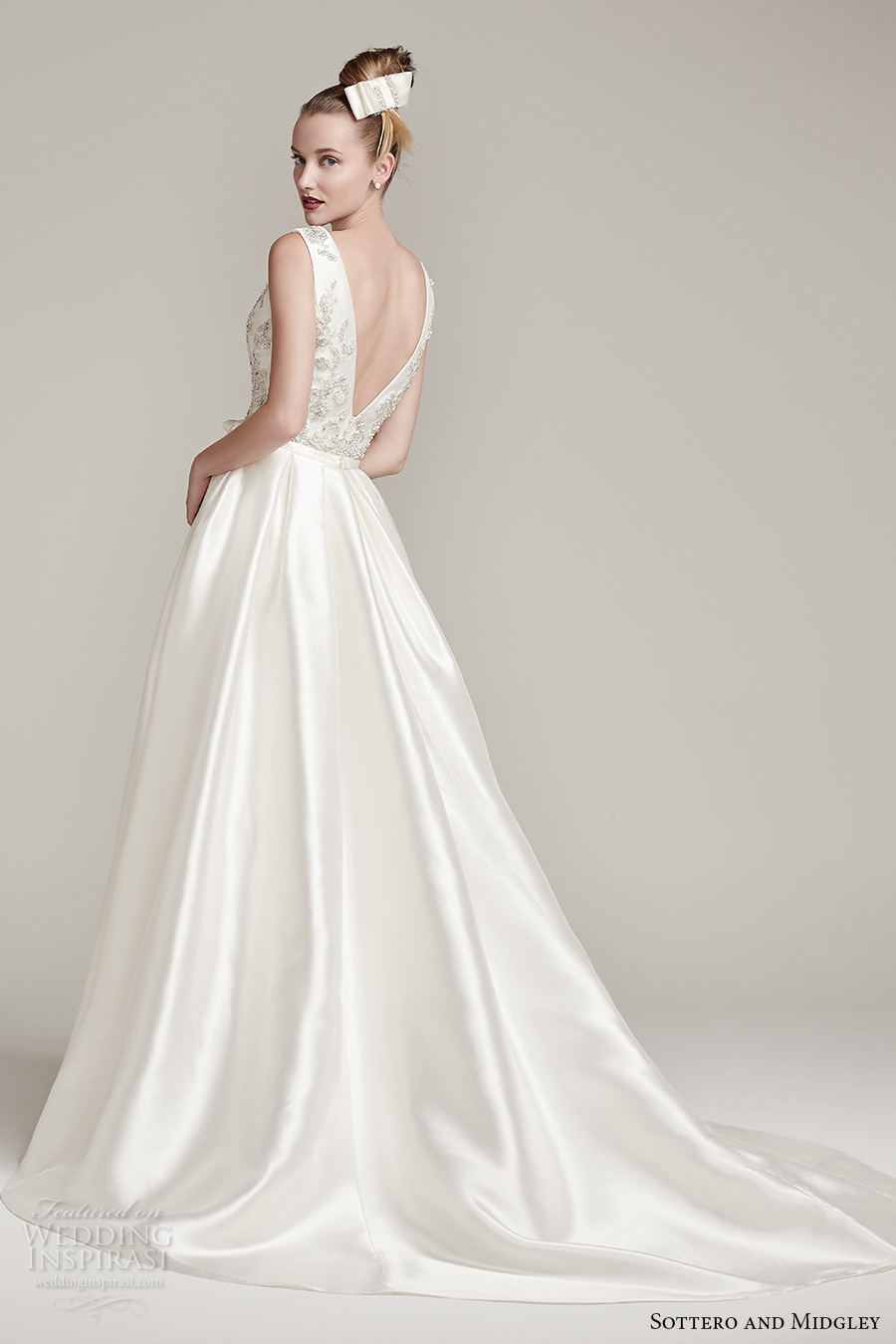 sottero midgley fall 2016 bridal sleeveless deep plunging v neck heavily embellished bodice sexy a line wedding dress with pocket v back sweep train (margot) bv