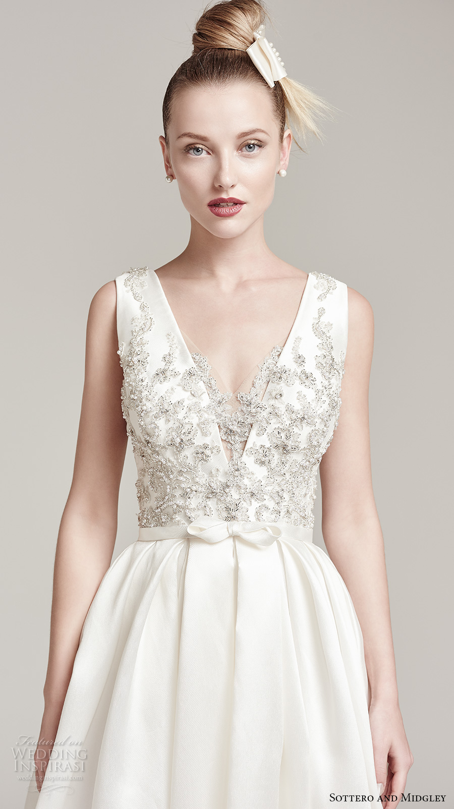 sottero midgley fall 2016 bridal sleeveless deep plunging v neck heavily embellished bodice sexy a line wedding dress with pocket v back sweep train (margot) zv