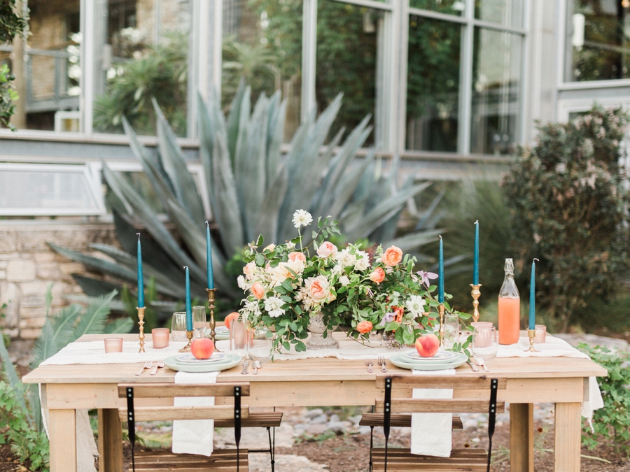 tablescape - http://ruffledblog.com/watercolor-greenhouse-wedding-inspiration