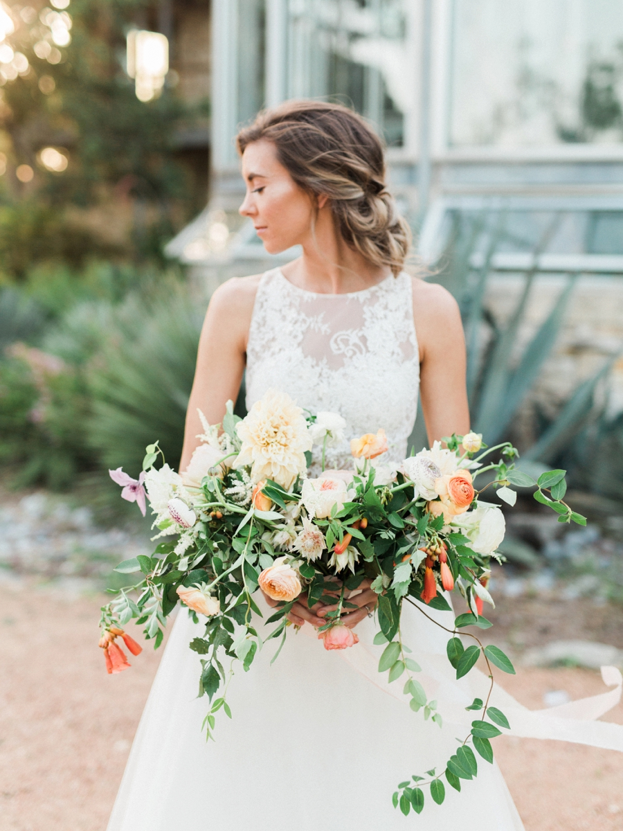 lush bouquet with greenery - http://ruffledblog.com/watercolor-greenhouse-wedding-inspiration